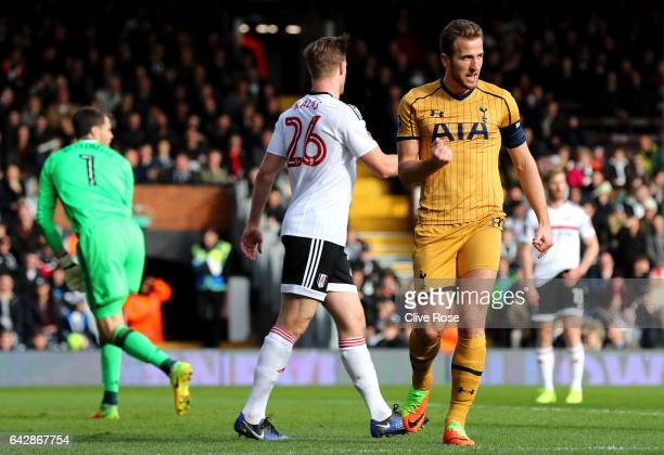 Harry Kane of Tottenham Hotspur celebrates scoring their first goal during The Emirates FA Cup Fifth Round match between Fulham and Tottenham Hotspur...