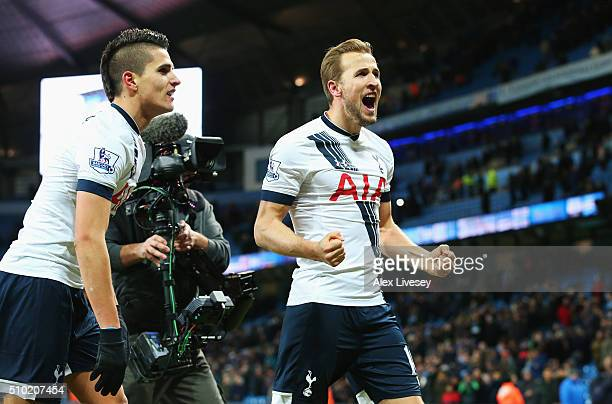 Harry Kane of Tottenham Hotspur celebrates victory after the Barclays Premier League match between Manchester City and Tottenham Hotspur at Etihad...
