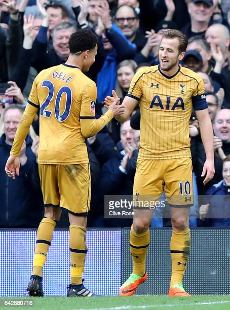 Harry Kane of Tottenham Hotspur celebrates with team mate Dele Alli as he scores their third goal and completes his hat trick during The Emirates FA...
