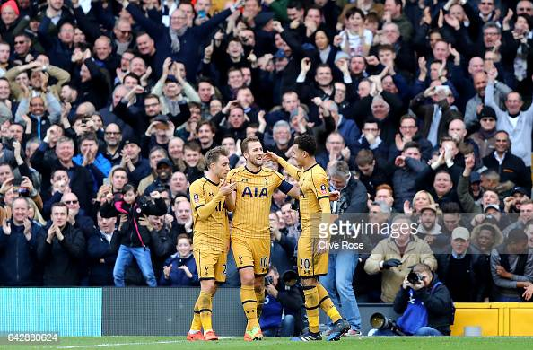 Harry Kane of Tottenham Hotspur celebrates with team mates as he scores their third goal and completes his hat trick during The Emirates FA Cup Fifth...