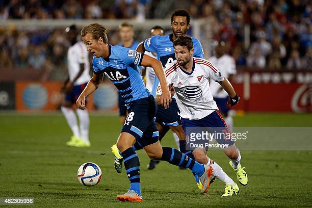 Harry Kane of Tottenham Hotspur controls the ball against Drew Moor of MLS AllStars during the 2015 ATT Major League Soccer AllStar game at Dick's...