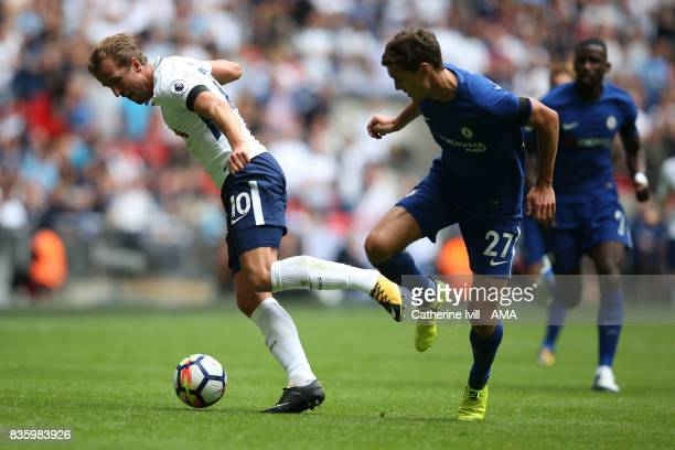 Harry Kane of Tottenham Hotspur during the Premier League match between Tottenham Hotspur and Chelsea at Wembley Stadium on August 20 2017 in London...