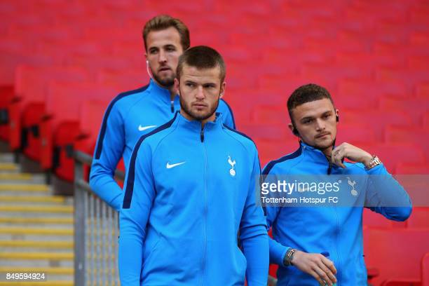 Harry Kane of Tottenham Hotspur Eric Dier of Tottenham Hotspur and Kieran Trippier of Tottenham Hotspur arrive at the stadium prior to the Carabao...