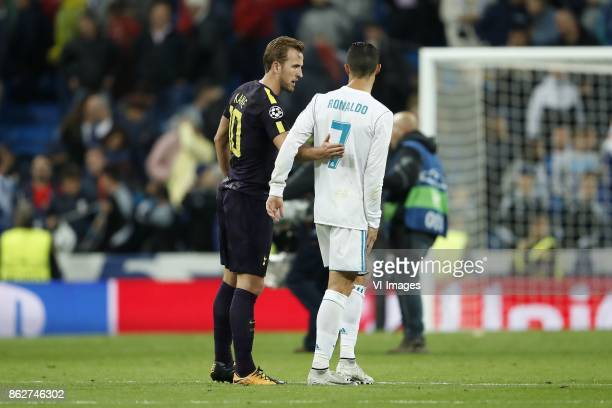 Harry Kane of Tottenham Hotspur FC Cristiano Ronaldo of Real Madrid during the UEFA Champions League group H match between Real Madrid and Tottenham...