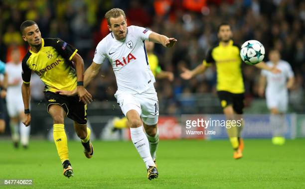 Harry Kane of Tottenham Hotspur FC in action during the UEFA Champions League group H match between Tottenham Hotspur and Borussia Dortmund at...
