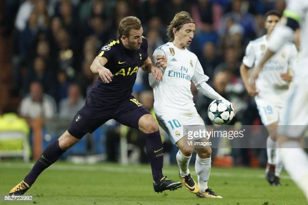 Harry Kane of Tottenham Hotspur FC Luka Modric of Real Madrid during the UEFA Champions League group H match between Real Madrid and Tottenham...