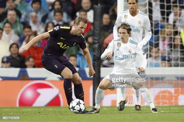 Harry Kane of Tottenham Hotspur FC Luka Modric of Real Madrid Raphael Varane of Real Madrid during the UEFA Champions League group H match between...