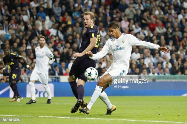 Harry Kane of Tottenham Hotspur FC Raphael Varane of Real Madrid 01 during the UEFA Champions League group H match between Real Madrid and Tottenham...