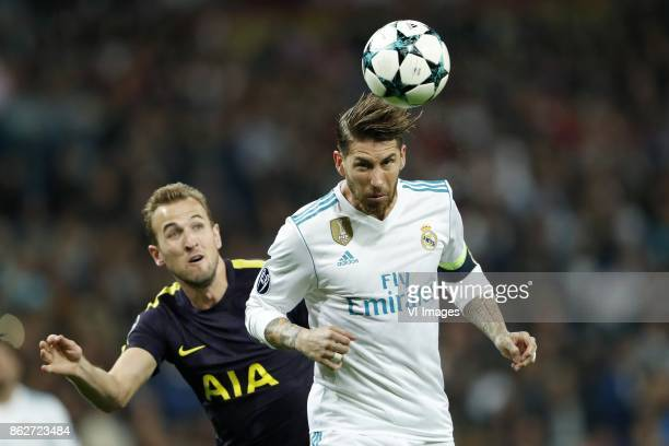 Harry Kane of Tottenham Hotspur FC Sergio Ramos of Real Madrid during the UEFA Champions League group H match between Real Madrid and Tottenham...