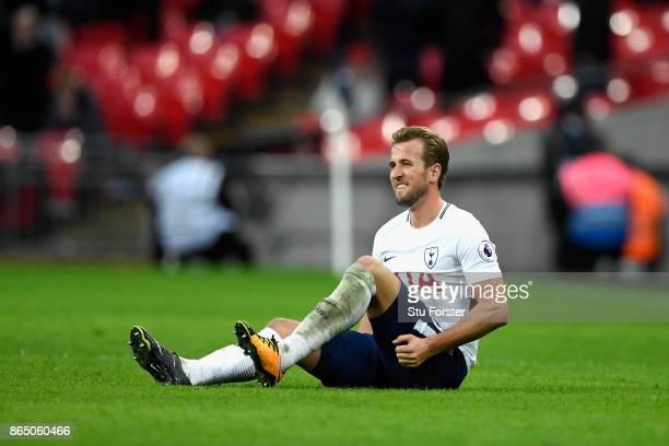 Harry Kane of Tottenham Hotspur goes down holidng his leg during the Premier League match between Tottenham Hotspur and Liverpool at Wembley Stadium...