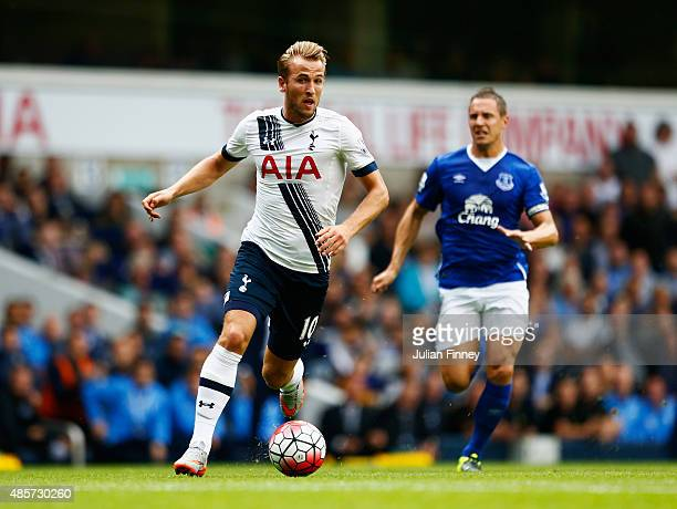 Harry Kane of Tottenham Hotspur in action during the Barclays Premier League match between Tottenham Hotspur and Everton at White Hart Lane on August...