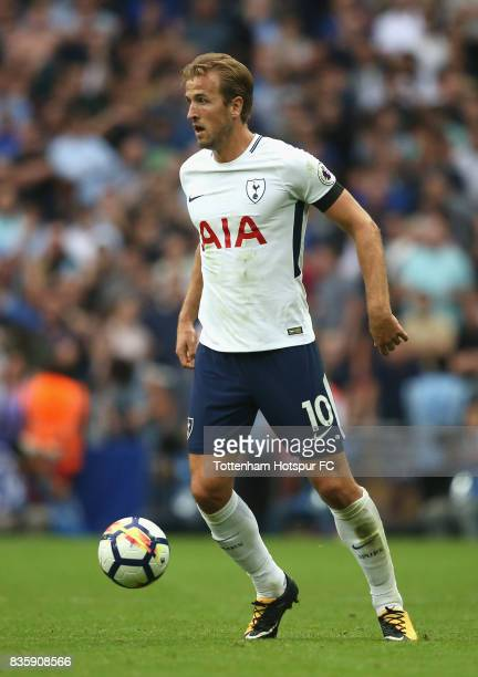 Harry Kane of Tottenham Hotspur in action during the Premier League match between Tottenham Hotspur and Chelsea at Wembley Stadium on August 20 2017...