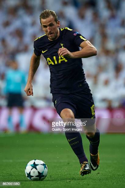Harry Kane of Tottenham Hotspur in action during the UEFA Champions League group H match between Real Madrid and Tottenham Hotspur at Estadio...