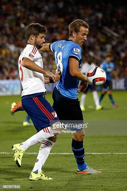 Harry Kane of Tottenham Hotspur is called for a hand ball against Drew Moor of MLS AllStars during the 2015 ATT Major League Soccer AllStar game at...