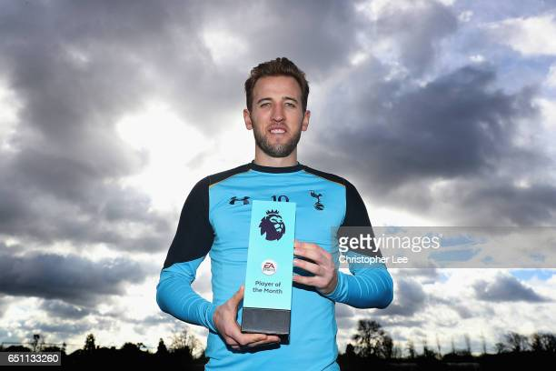 Harry Kane of Tottenham Hotspur is Presented with the EA SPORTS Premier League Player of the Month Award for February at Tottenham Hotspur Training...