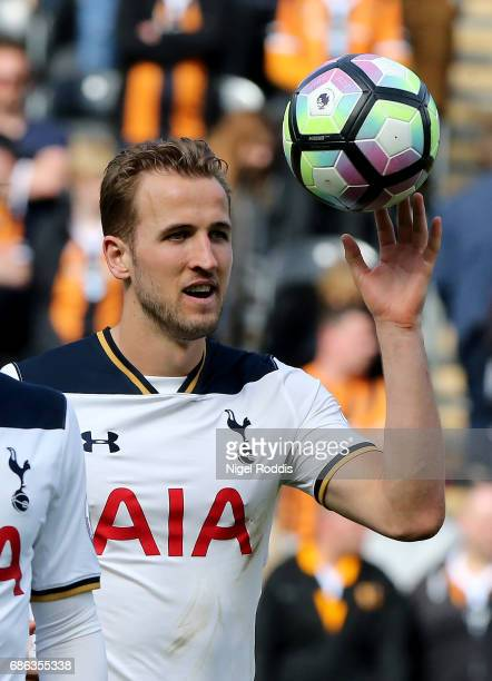 Harry Kane of Tottenham Hotspur ith the match ball after scoring a hat trick during the Premier League match between Hull City and Tottenham Hotspur...