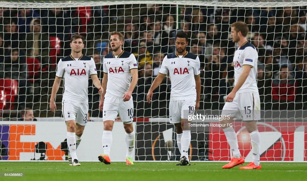Harry Kane of Tottenham Hotspur (10) looks dejected as he scores an own goal for Gent's first alongside team mates Ben Davies (L), Mousa Dembele (2R) and Eric Dier (R) during the UEFA Europa League Round of 32 second leg match between Tottenham Hotspur and KAA Gent at Wembley Stadium on February 23, 2017 in London, United Kingdom.