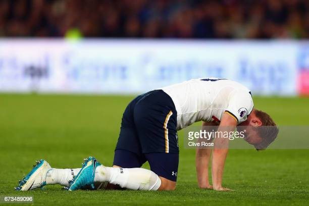 Harry Kane of Tottenham Hotspur looks dejected during the Premier League match between Crystal Palace and Tottenham Hotspur at Selhurst Park on April...
