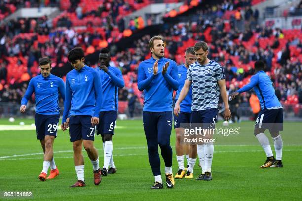 Harry Kane of Tottenham Hotspur looks on during the wamr up prior to the Premier League match between Tottenham Hotspur and Liverpool at Wembley...