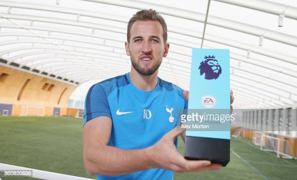 Harry Kane of Tottenham Hotspur poses with the EA SPORTS Player of the Month Award for September 2017 on October 12 2017 in Enfield England