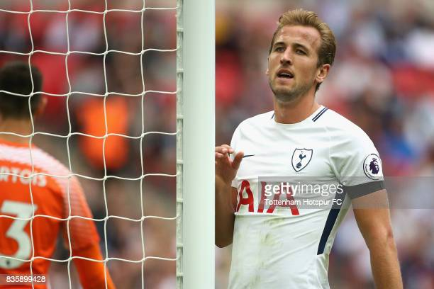 Harry Kane of Tottenham Hotspur reacts during the Premier League match between Tottenham Hotspur and Chelsea at Wembley Stadium on August 20 2017 in...