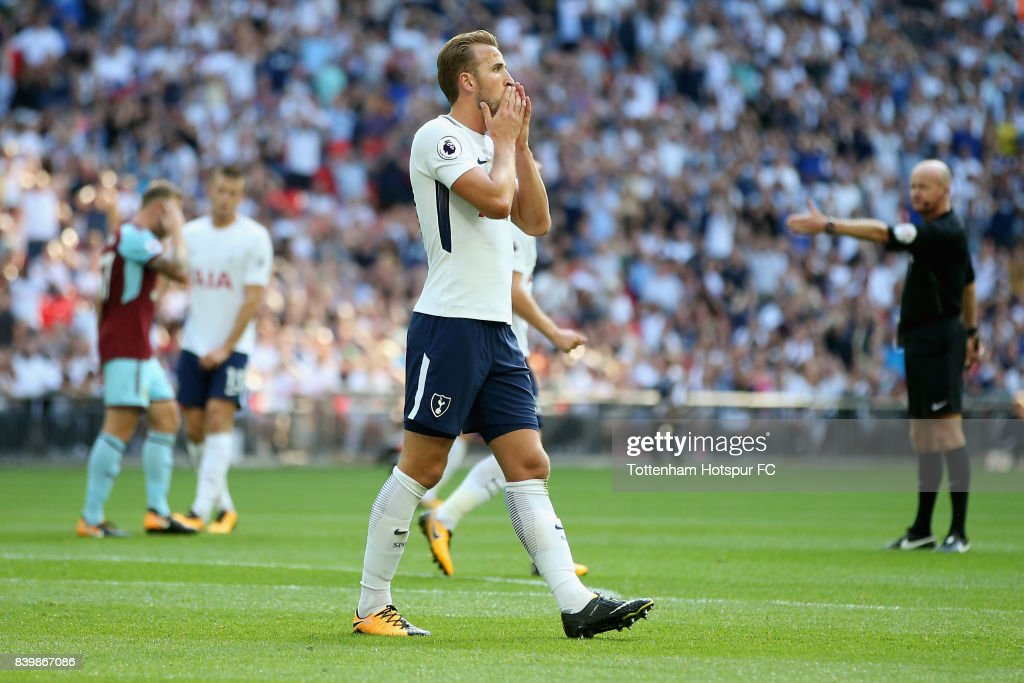 Harry Kane of Tottenham Hotspur reacts during the Premier League match between Tottenham Hotspur and Burnley at Wembley Stadium on August 27, 2017 in London, England.