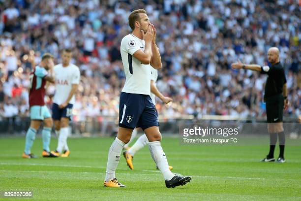 Harry Kane of Tottenham Hotspur reacts during the Premier League match between Tottenham Hotspur and Burnley at Wembley Stadium on August 27 2017 in...