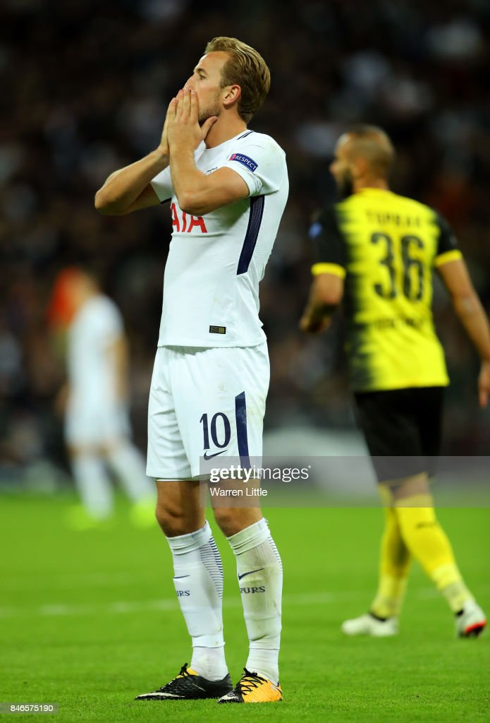 Harry Kane of Tottenham Hotspur reacts during the UEFA Champions League group H match between Tottenham Hotspur and Borussia Dortmund at Wembley Stadium on September 13, 2017 in London, United Kingdom.