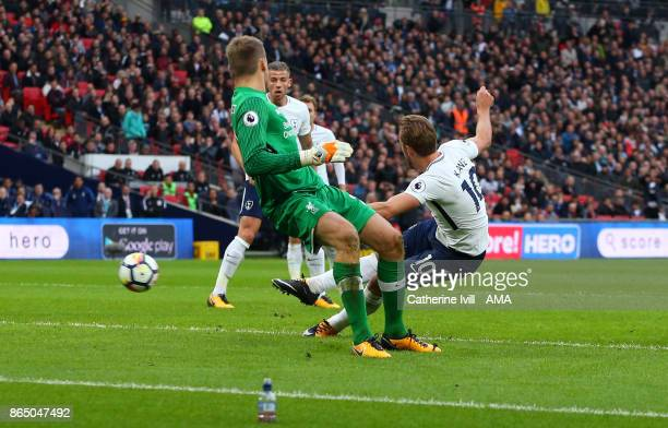 Harry Kane of Tottenham Hotspur scores a goal to make it 41 during the Premier League match between Tottenham Hotspur and Liverpool at Wembley...