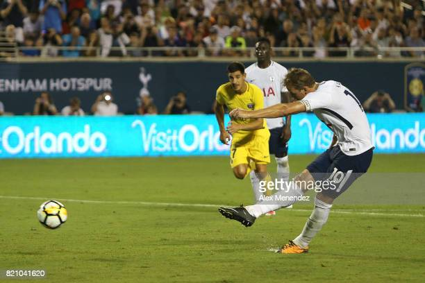 Harry Kane of Tottenham Hotspur scores a penalty kick during the International Champions Cup 2017 match between Paris SaintGermain and Tottenham...