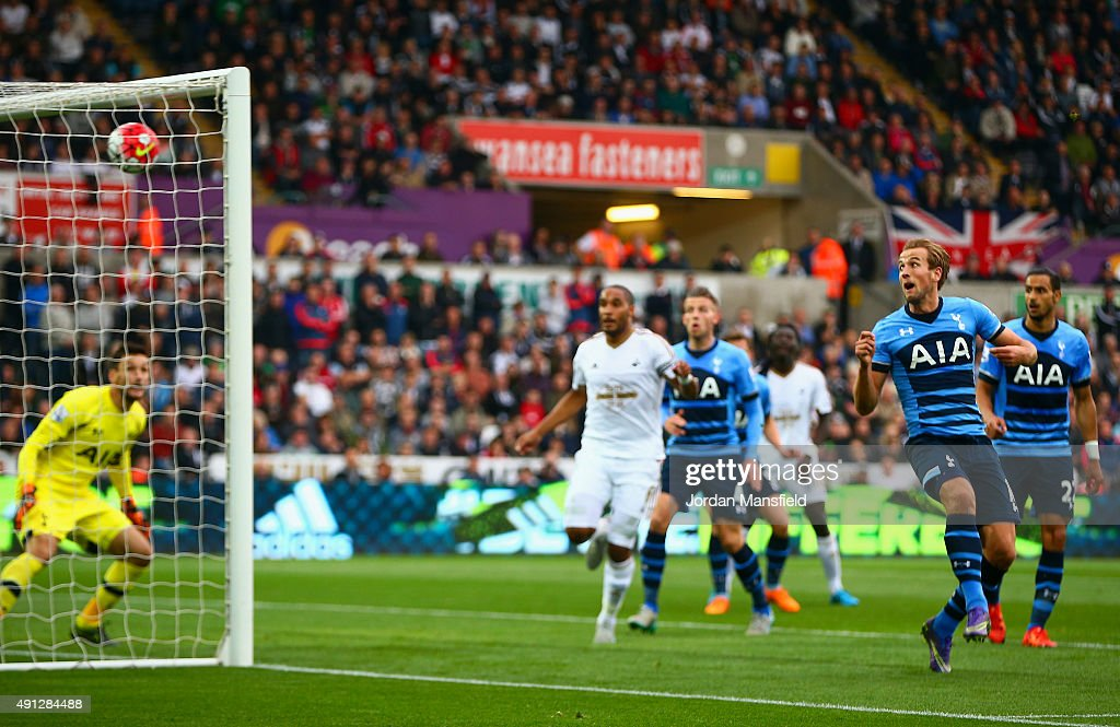Harry Kane of Tottenham Hotspur scores an own goal during the Barclays Premier League match between Swansea City and Tottenham Hotspur at Liberty Stadium on October 4, 2015 in Swansea, Wales.