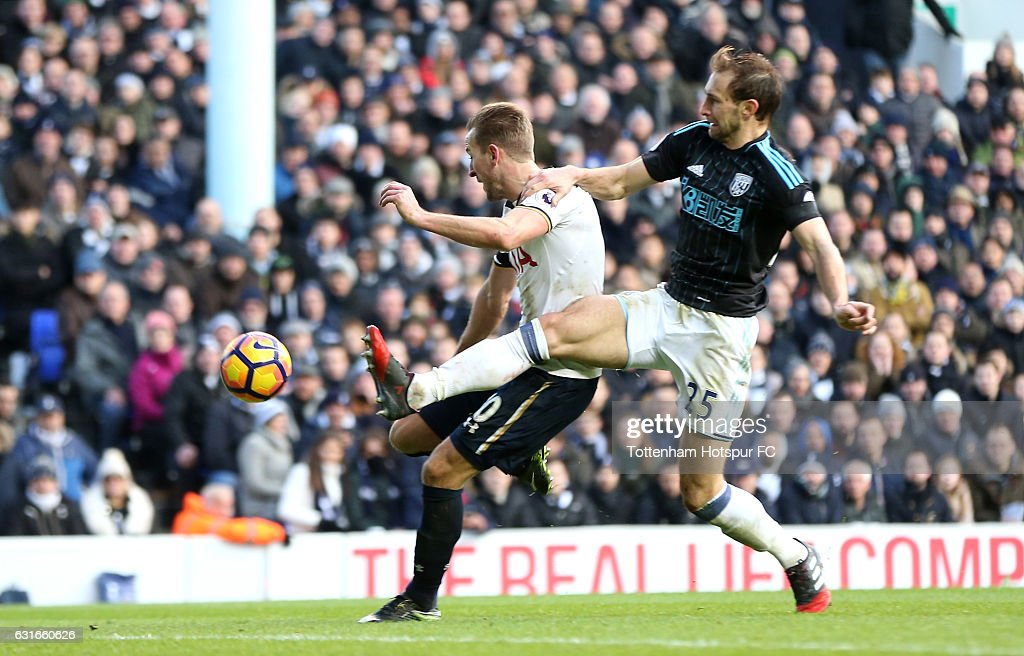 Harry Kane of Tottenham Hotspur scores his sides fourth goal during the Premier League match between Tottenham Hotspur and West Bromwich Albion at White Hart Lane on January 14, 2017 in London, England.