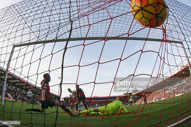 Harry Kane of Tottenham Hotspur scores his team's fifth and his hat trick goal past Artur Boruc of Bournemouth during the Barclays Premier League...