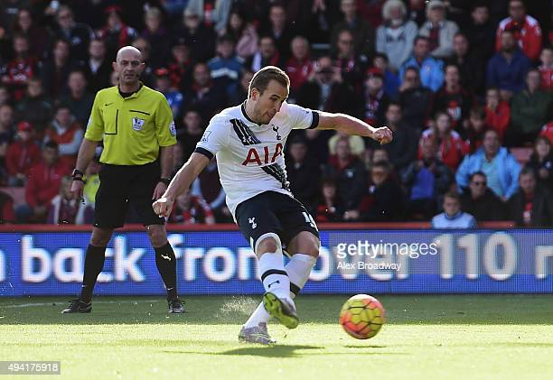 Harry Kane of Tottenham Hotspur scores his team's first goal from the penalty spot during the Barclays Premier League match between AFC Bournemouth...