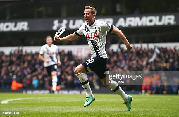 Harry Kane of Tottenham Hotspur scores his team's second goal during the Barclays Premier League match between Tottenham Hotspur and Arsenal at White...