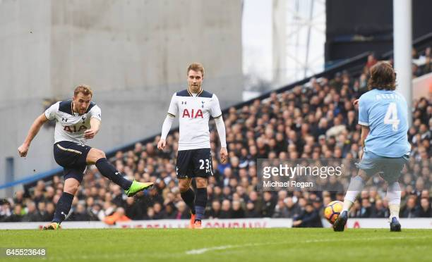 Harry Kane of Tottenham Hotspur scores his teams third goal and completes his hattrick during the Premier League match between Tottenham Hotspur and...