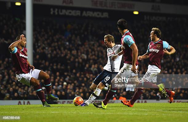 Harry Kane of Tottenham Hotspur scores his teams third goal during the Barclays Premier League match between Tottenham Hotspur and West Ham United at...