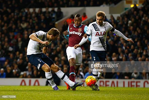 Harry Kane of Tottenham Hotspur scores the opening goal during the Barclays Premier League match between Tottenham Hotspur and West Ham United at...