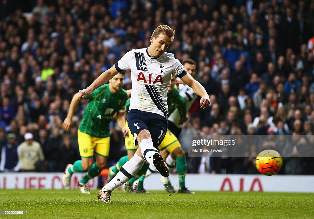 Harry Kane of Tottenham Hotspur scores the opening goal from the penalty spot during the Barclays Premier League match between Tottenham Hotspur and Norwich City at White Hart Lane on December 26, 2015 in London, England.