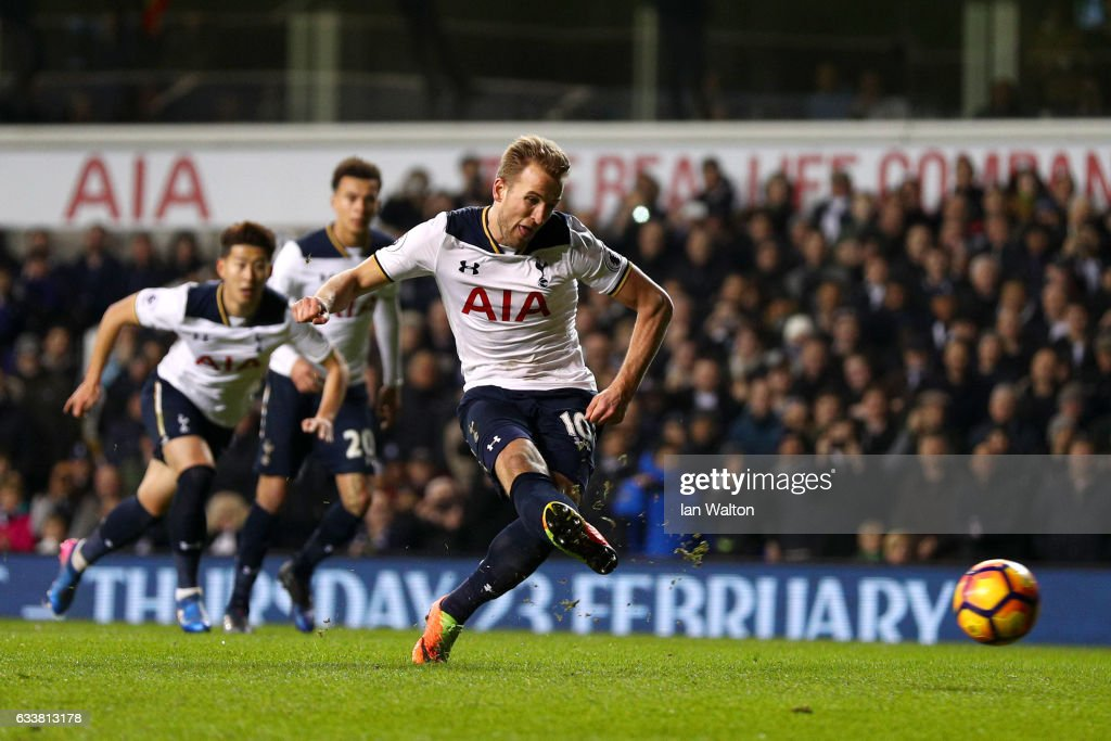 Harry Kane of Tottenham Hotspur scores the opening goal from the penalty spot during the Premier League match between Tottenham Hotspur and Middlesbrough at White Hart Lane on February 4, 2017 in London, England.