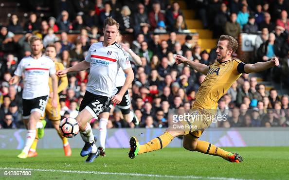 Harry Kane of Tottenham Hotspur scores their first goal during The Emirates FA Cup Fifth Round match between Fulham and Tottenham Hotspur at Craven...