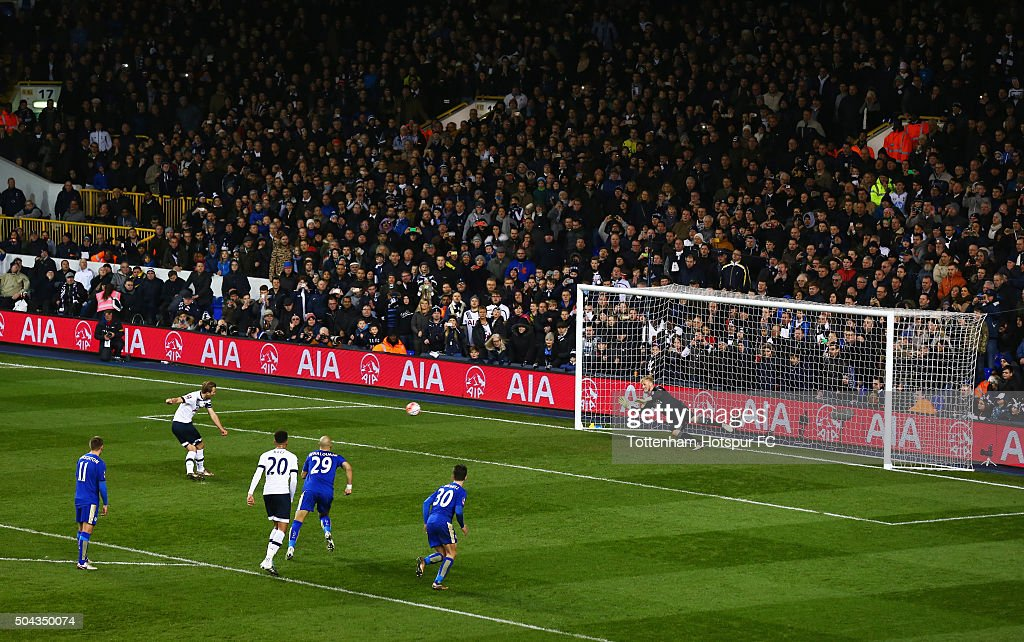 Harry Kane of Tottenham Hotspur scores their second goal from the penalty spot past goalkeeper Kasper Schmeichel of Leicester City during the Emirates FA Cup third round match between Tottenham Hotspur and Leicester City at White Hart Lane on January 10, 2016 in London, England.