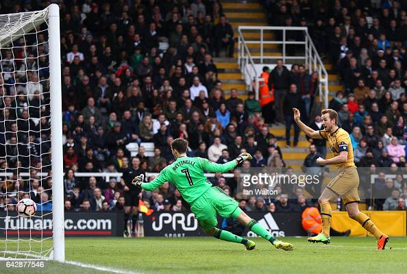 Harry Kane of Tottenham Hotspur scores their second goal past goalkeeper Marcus Bettinelli of Fulham during The Emirates FA Cup Fifth Round match...