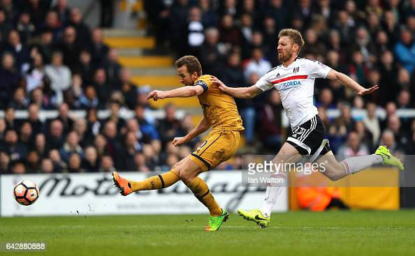 Harry Kane of Tottenham Hotspur scores their third goal and completes his hat trick during The Emirates FA Cup Fifth Round match between Fulham and...