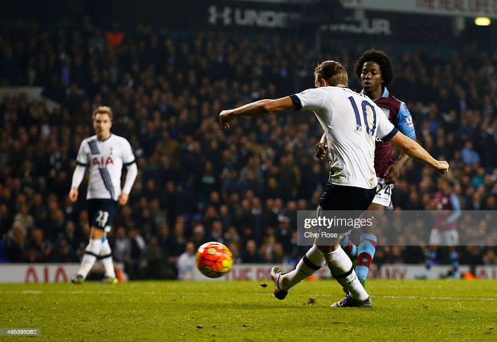 Harry Kane of Tottenham Hotspur scores their third goal during the Barclays Premier League match between Tottenham Hotspur and Aston Villa at White Hart Lane on November 2, 2015 in London, England.