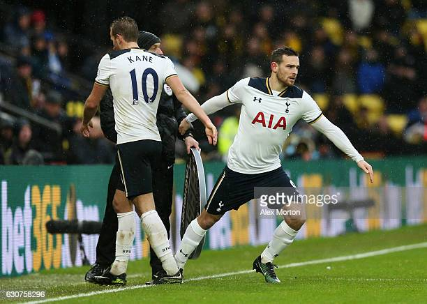 Harry Kane of Tottenham Hotspur shakes hands with Vincent Janssen of Tottenham Hotspur as he is substituted during the Premier League match between...