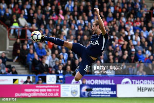 Harry Kane of Tottenham Hotspur shoots and scores but it is rulled offside during the Premier League match between Huddersfield Town and Tottenham...