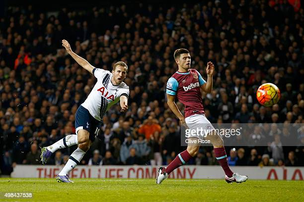 Harry Kane of Tottenham Hotspur shoots at goal during the Barclays Premier League match between Tottenham Hotspur and West Ham United at White Hart...