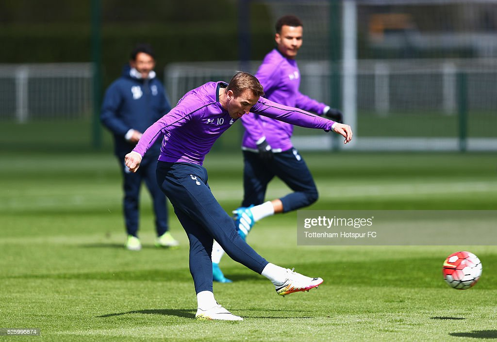 Harry Kane of Tottenham Hotspur shoots during a training session at the club's training ground on April 29, 2016 in Enfield, England.