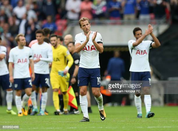 Harry Kane of Tottenham Hotspur shows appreciation to the fans after the Premier League match between Tottenham Hotspur and Chelsea at Wembley...